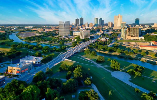 Aerial view of downtown Fort Worth Texas Aerial view of downtown Ft Worth Texas during the day with Trinity River in the foreground texas stock pictures, royalty-free photos & images