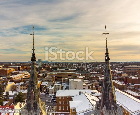 istock Aerial view of downtown Frederick Maryland through the Evangelical Lutheran Church steeples February 21, 2021 1305531976