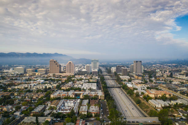 aerial view of downtown glendale and 134 freeway - san fernando valley stock photos and pictures