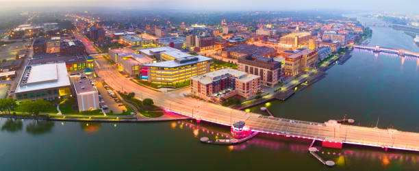 aerial view of downtown green bay, wisconsin - green bay wisconsin stock photos and pictures