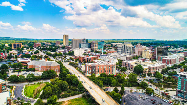 Aerial View of Downtown Greenville, South Carolina Skyline Drone Aerial of the Downtown Greenville, South Carolina SC Skyline liberty bridge budapest stock pictures, royalty-free photos & images