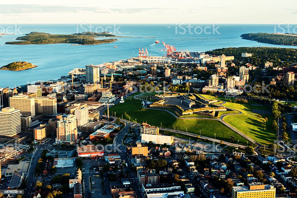 Aerial View of Downtown Halifax An aerial view of the downtown core of Halifax taken from an altitude of 800'.  Prominent landmarks include Citadel Hill National Park, George's Island and McNab's Island. 2015 Stock Photo