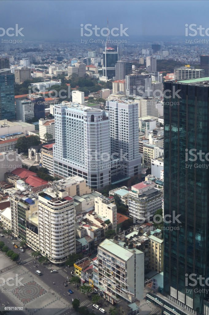 aerial view of downtown Ho Chi Minh City royalty-free stock photo
