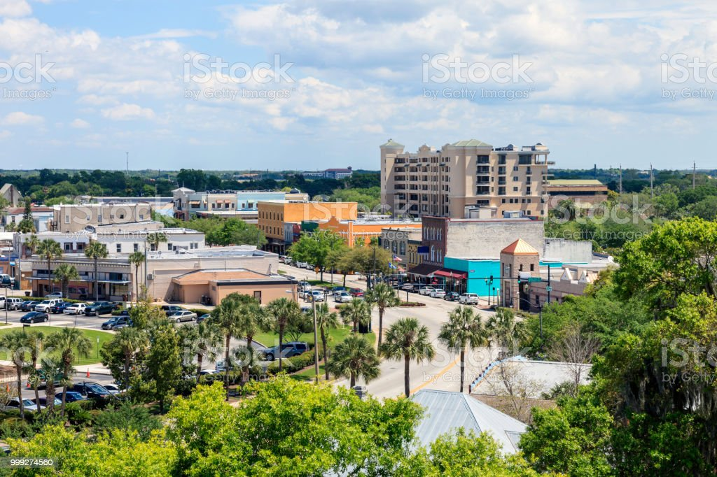 Aerial View of Downtown Kissimmee stock photo