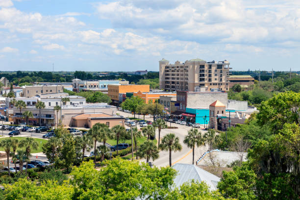 aerial view of downtown kissimmee - kissimmee stock photos and pictures