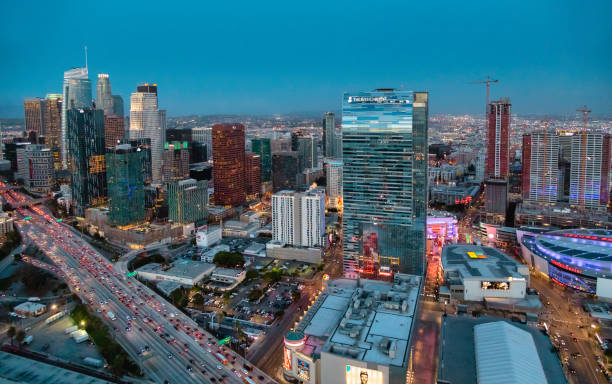 Aerial view of downtown Los Angeles stock photo
