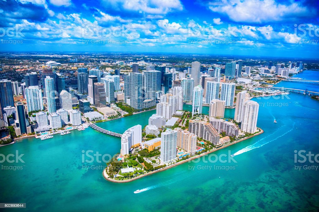 Aerial View of Downtown Miami Florida stock photo
