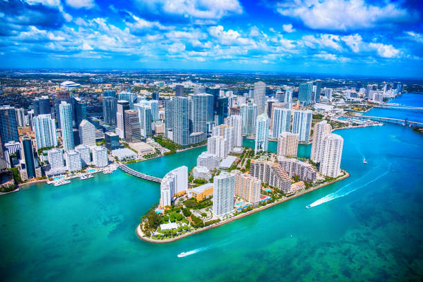 aerial view of downtown miami florida - financial district stock pictures, royalty-free photos & images