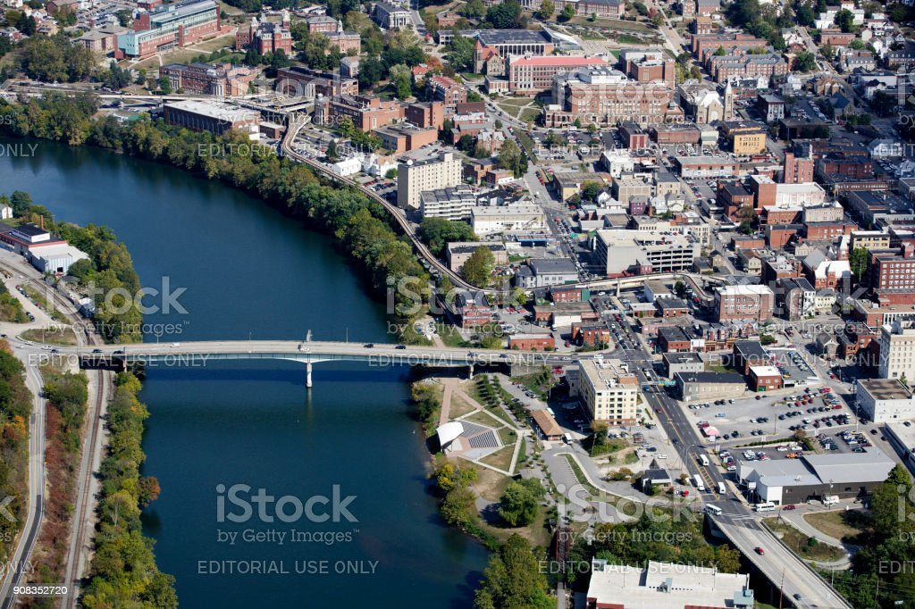 Aerial view of Downtown Morgantown West Virginia stock photo
