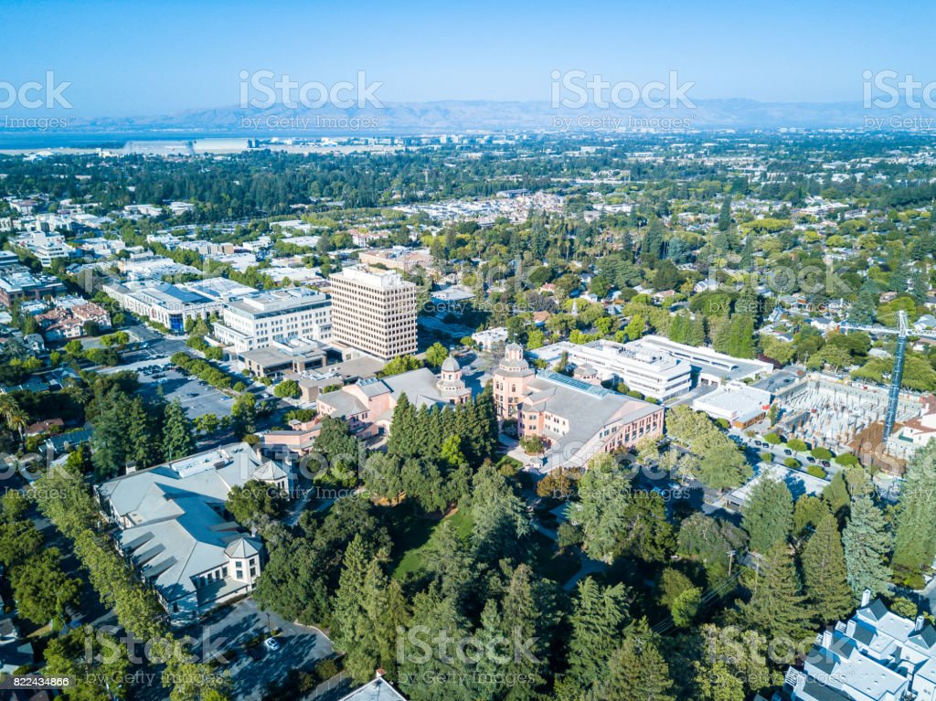 Aerial view of downtown Mountain View in California stock photo