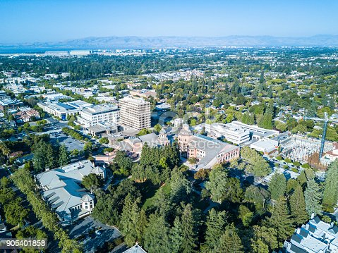 Drone view of  downtown Mountain View in California