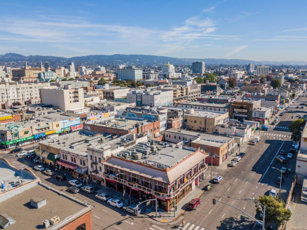 Aerial view of Downtown Oakland Chinatown District stock photo