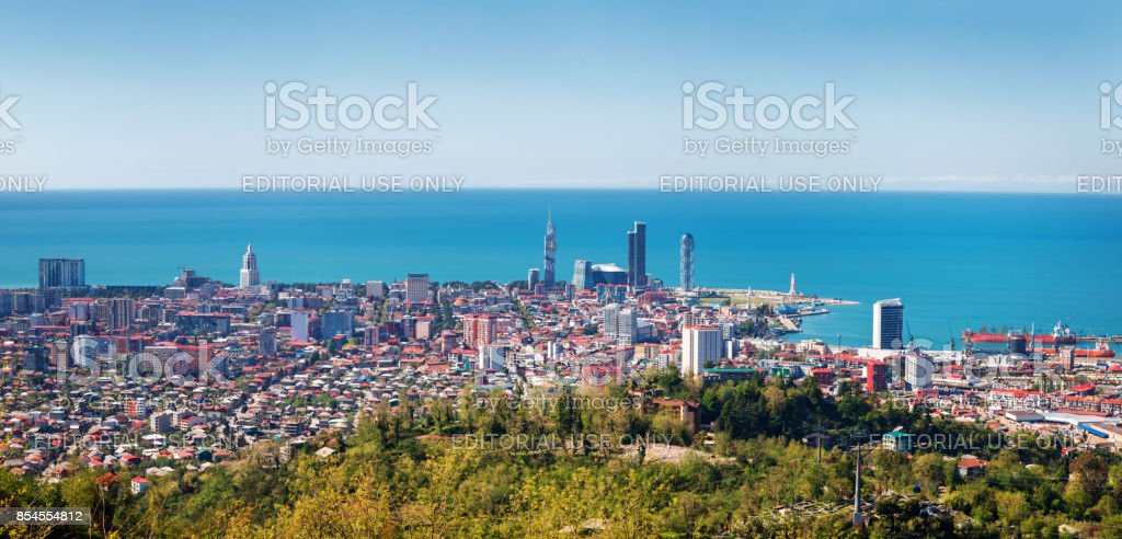 Aerial view of downtown of Batumi - capital of Adjara, Georgia stock photo