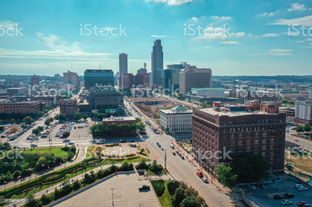 Aerial view of downtown Omaha Nebraska during the summer, USA Aerial view of downtown Omaha Nebraska during the summer, USA Aerial View Stock Photo