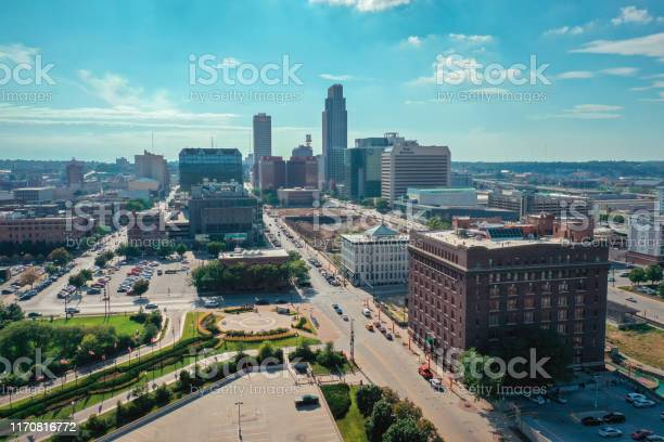 Aerial View Of Downtown Omaha Nebraska During The Summer Usa Stock Photo - Download Image Now
