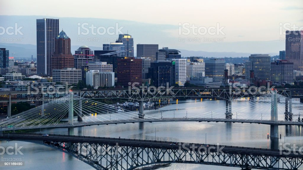 Aerial view of downtown Portland from Willamette River in morning stock photo
