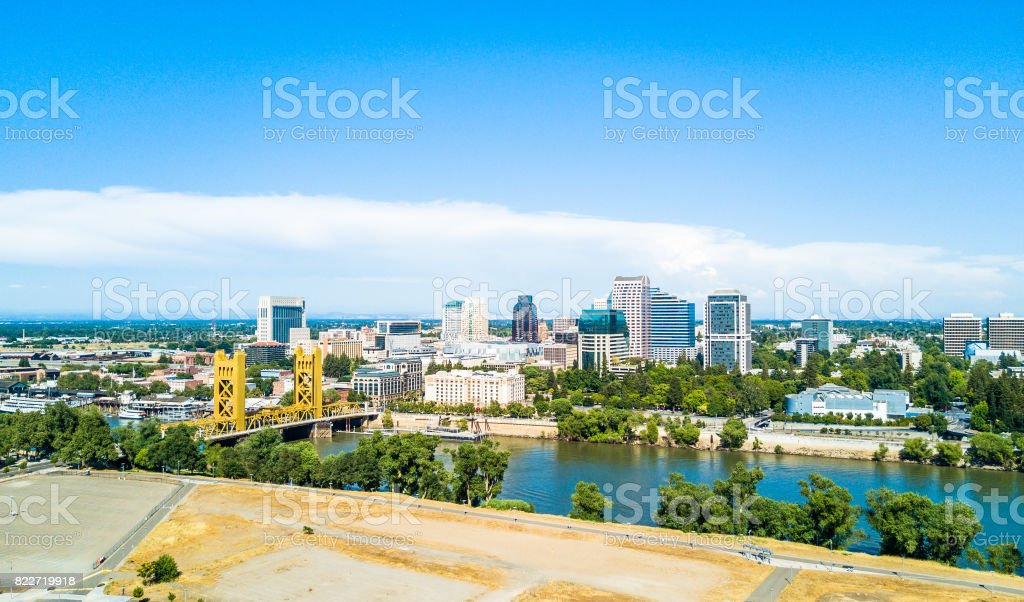 Aerial view of downtown Sacramento stock photo