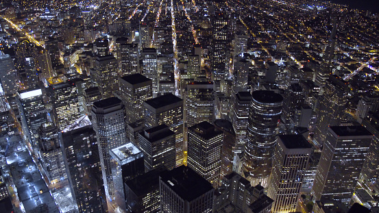 Aerial View of Downtown San Francisco at Night