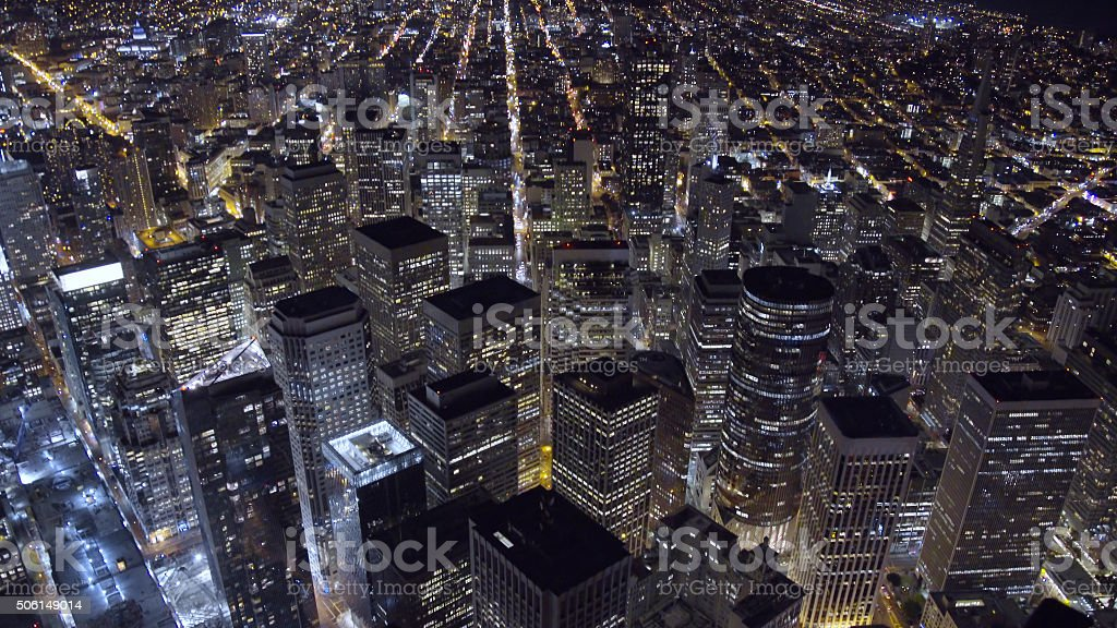 Aerial View of Downtown San Francisco at Night stock photo