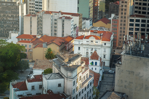 Aerial view of downtown Sao Paulo and Patio do Colegio - Sao Paulo, Brazil