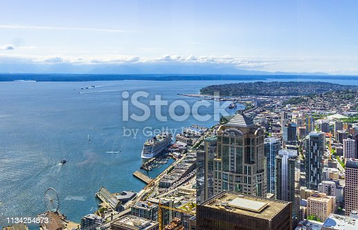 Aerial view of downtown Seattle districts, the waterfront and Elliott Bay on a sunny day. Seattle skyline, WA, USA.