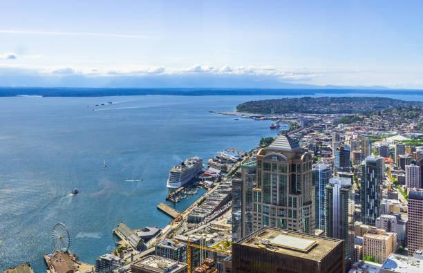 Luftaufnahme der Stadtteile von Seattle, WA, USA – Foto