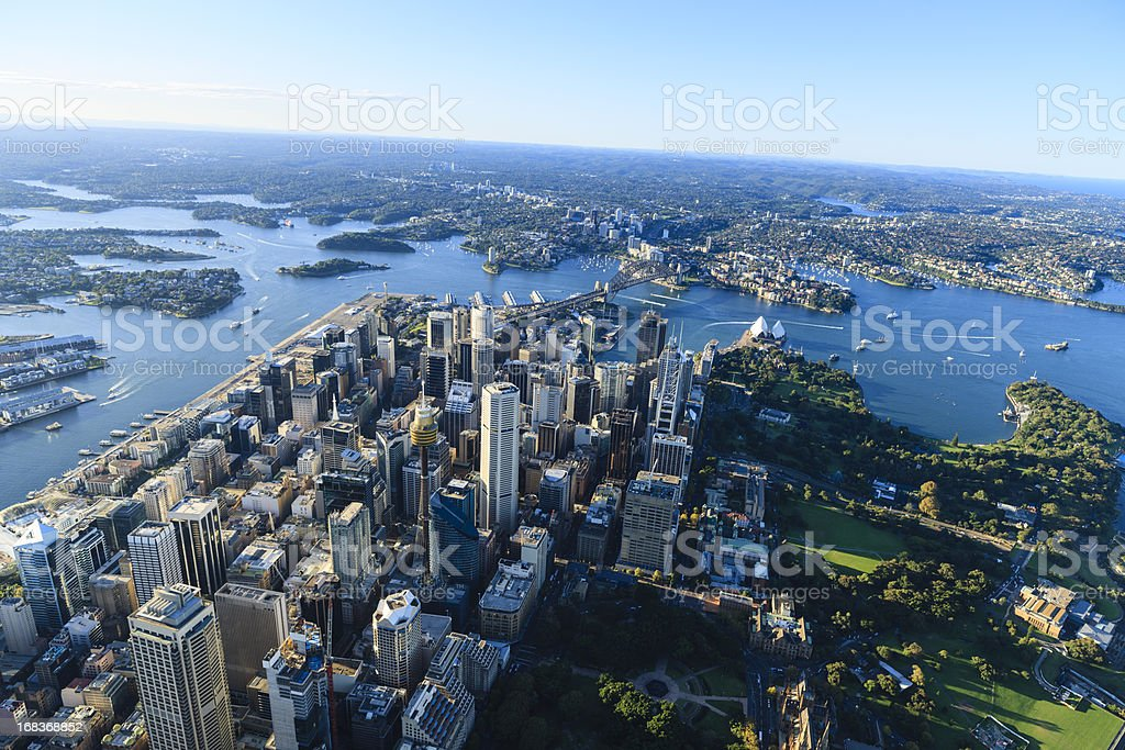 Aerial view of downtown Sydney, Australia stock photo