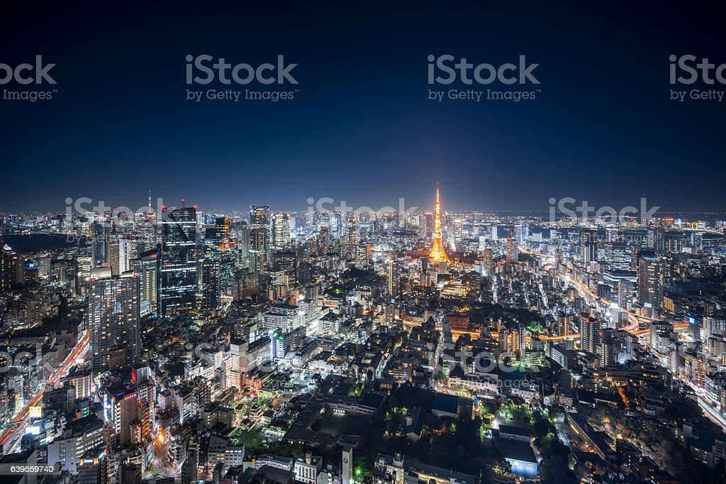 Aerial View of Downtown Tokyo at Night stock photo