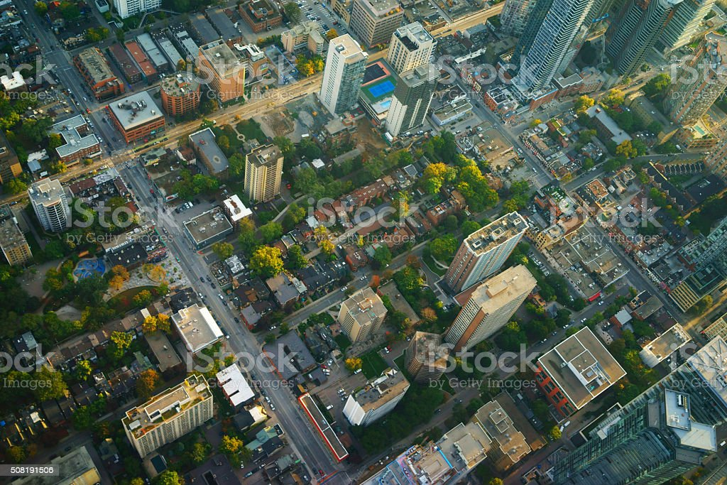 aerial view of downtown Toronto, evening light aerial view of downtown Toronto, evening light Aerial View Stock Photo