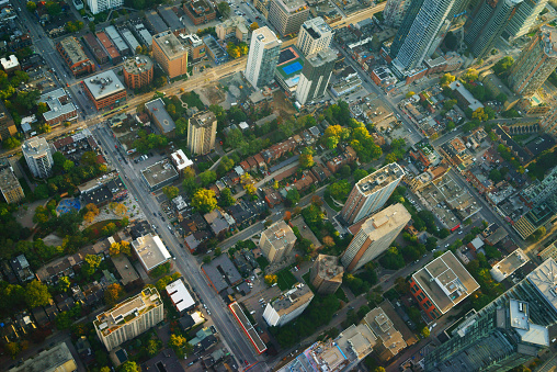 Aerial View Of Downtown Toronto Evening Light Stock Photo - Download Image Now