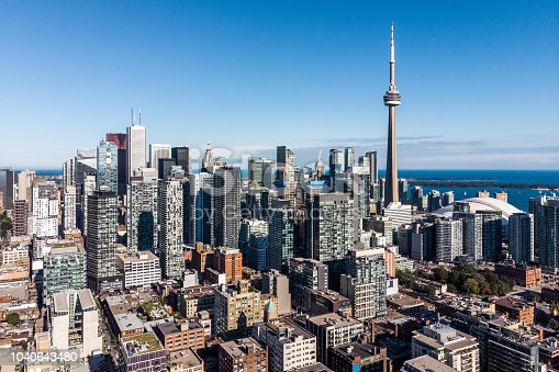 Aerial view of Toronto cityscape showing Downtown buildings on a sunny day in Toronto, Ontario, Canada.