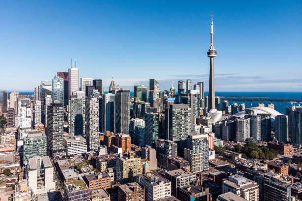 Aerial View of Downtown Toronto on a Sunny Day, Ontario, Canada Aerial view of Toronto cityscape showing Downtown buildings on a sunny day in Toronto, Ontario, Canada. canada stock pictures, royalty-free photos & images