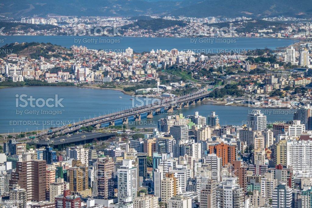 Aerial view of Dowtown Florianopolis City and Pedro Ivo Campos Bridge - Florianopolis, Santa Catarina, Brazia stock photo