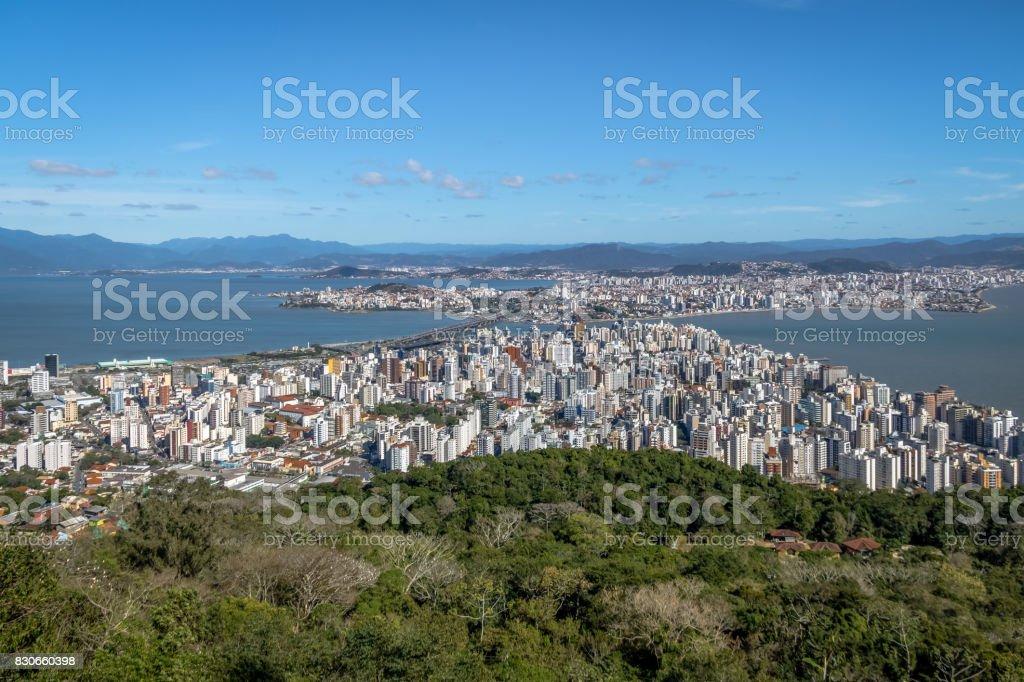 Aerial view of Dowtown Florianopolis City - Florianopolis, Santa Catarina, Brazia stock photo