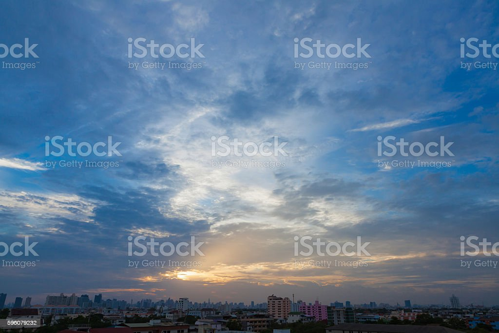 Aerial view of dramatic sunset. royalty-free stock photo