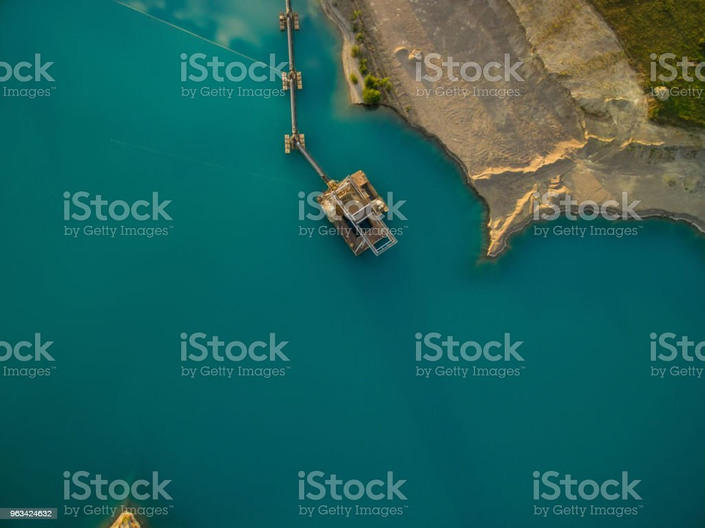 aerial view of dredge replenish sand in lake - Zbiór zdjęć royalty-free (Ekstremalne warunki pogodowe)