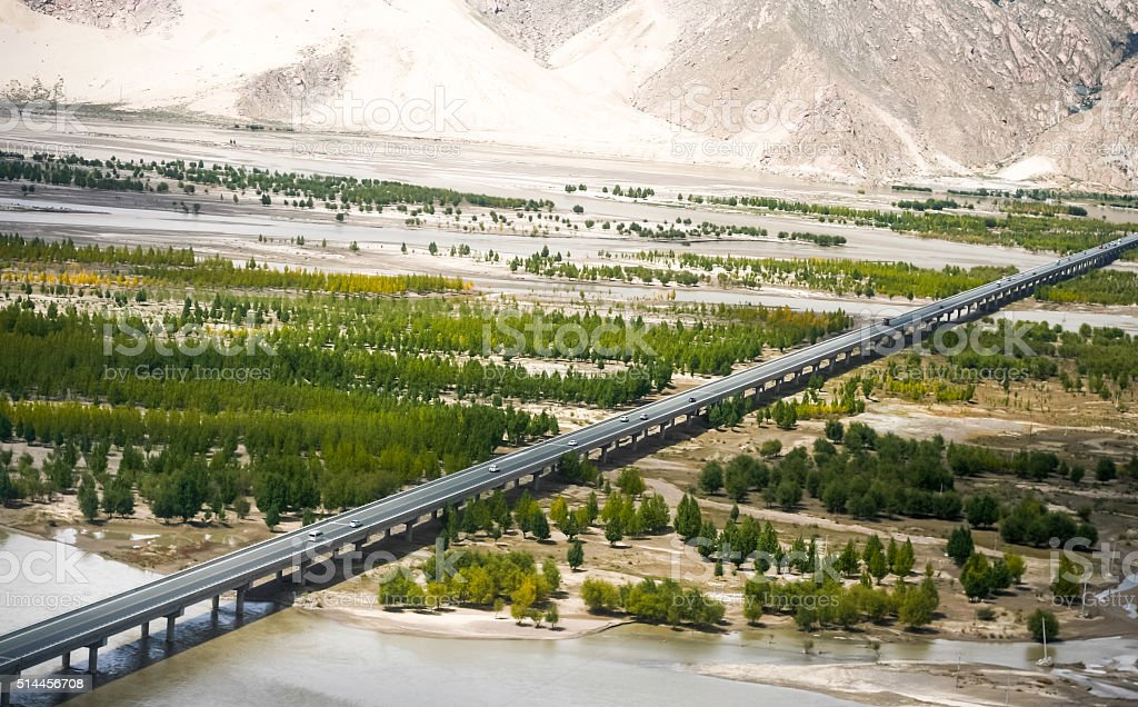 Aerial view of driveway in Tibet, China stock photo