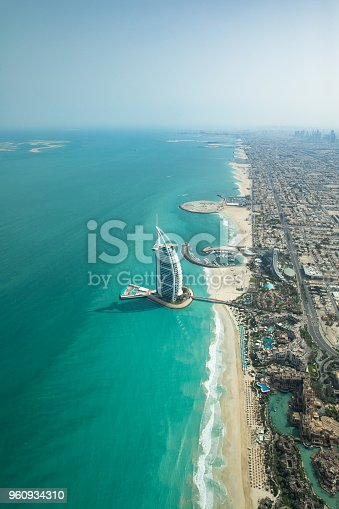 istock Aerial view of Dubai coast line on a beautiful sunny day. 960934310