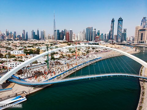 Aerial view of Dubai from the water canal in the UAE