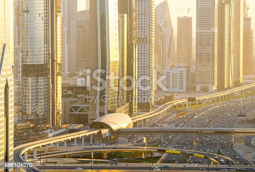 istock Aerial view of Dubai Highway 686104270