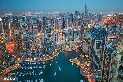 Aerial view of Dubai marina at dusk.