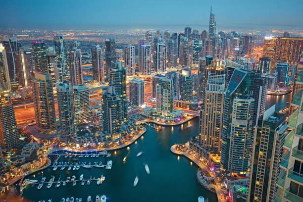 Aerial view of Dubai marina at dusk stock photo
