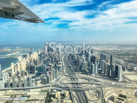Aerial view of Dubai Marina skyline with Sheikh Zayeg road highway interchange, United Arab Emirates