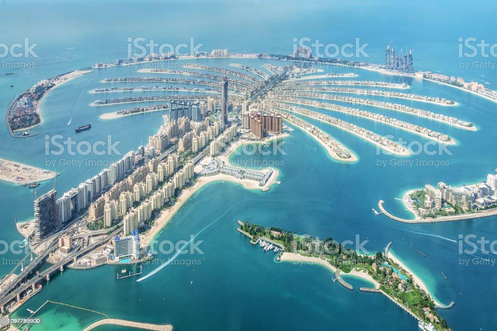 Aerial view of Dubai Palm Jumeirah island, United Arab Emirates royalty-free stock photo