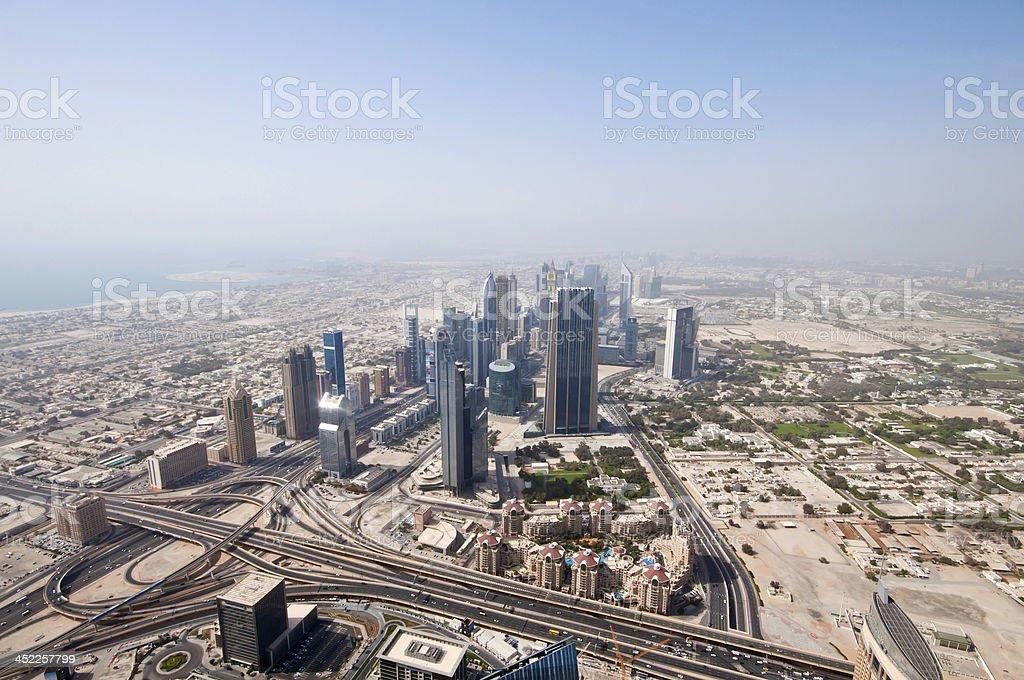 Aerial view of Dubai stock photo