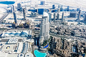 istock Aerial view of Dubai Skyline, Amazing Rooftop view of Dubai Sheikh Zayed Road Residential and Business Skyscrapers in Downtown Dubai, United Arab Emirates 1141297414