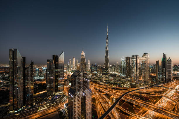 Aerial View of Dubai Skyline at Dusk stock photo