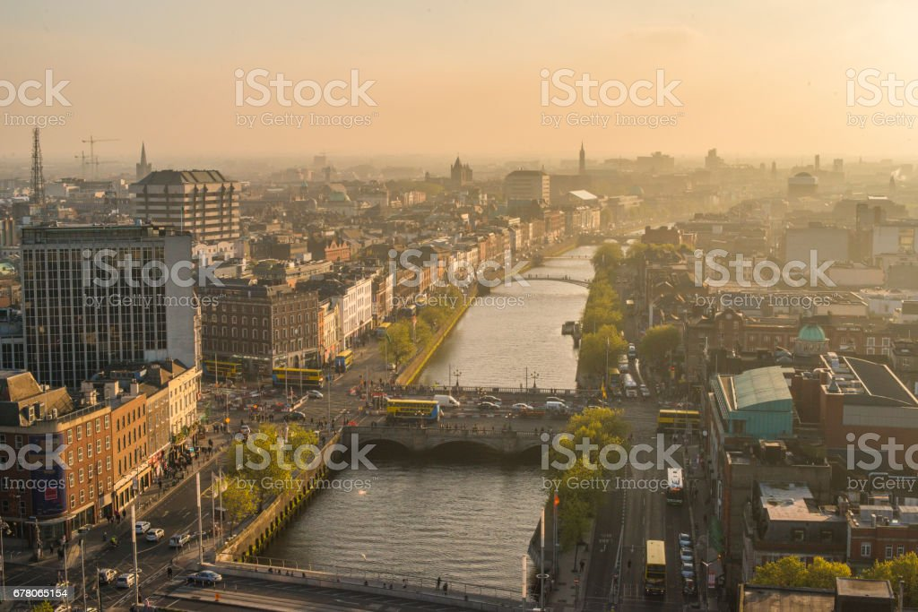 Aerial view of Dublin city centre, Ireland. stock photo