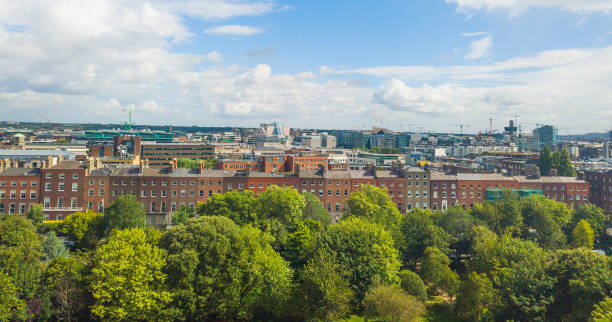 Aerial view of Dublin city centre, Ireland stock photo