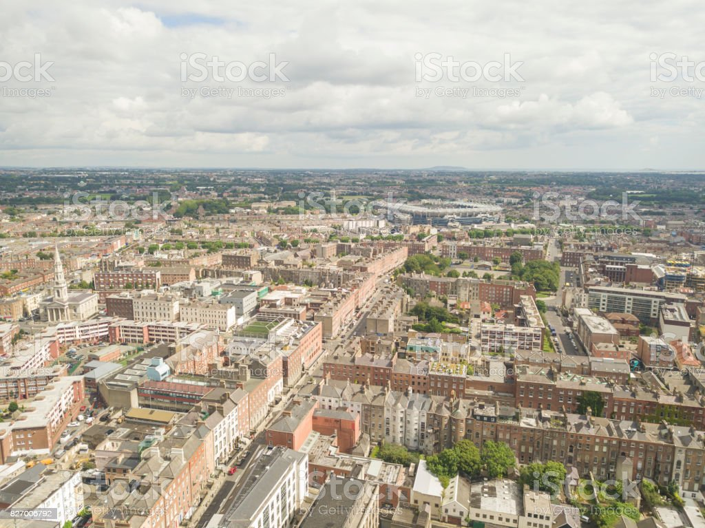 Aerial View Of Dublin City Centre Ireland Stock Photo More